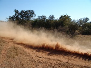 Dry field with dust cloud and trees in background